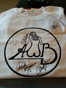 AWB Average White Band White with Black Print T- shirtAutographed 5 Signatures