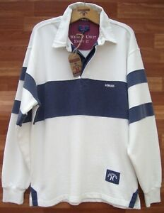 Edwards Heavies ED27 Long Sleeve Cotton Panel Rugby - Washed Ecru/Navy - M/L