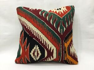 16''x16'' Anatolian Boho Cottage Pillow Turkish Kilim Pillowcase Bright Color