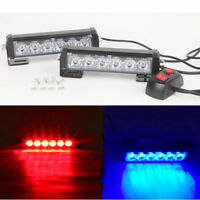 2pcs Red & Blue 6 LED Emergency Hazard Warning Flash Strobe Beacon Caution Light