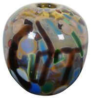 Jamie Sherman Hand Blown Studio Art Glass Bud Vase Diffuser Modern Abstract 6""