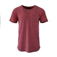 Men's Soild Hip Hop Hipster T-Shirt Short Sleeve Extend Long Pocket Tee Oxblood