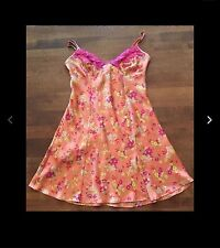 Victoria's Secret Orange/pink Floral Nightgown Sz XS Satin, Adjustable Straps