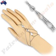 Silver Rhodium Plated Brass Tripple Tear Drop Charms Slave Chain Bracelet