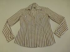Nine West Womens 2 Burgundy Striped Button Front Shirt Great Condition