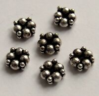 Rustic Oxidized Bali Sterling Silver Melon Spacer Beads 5 PCS 6x6 mm