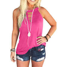 Womens Summer Hollow Loose Sleeveless T Shirt Casual Crew Neck Solid Tops Blouse
