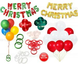 GREEN RED&WHITE MERRY CHRISTMAS PARTY BALLOONS BALLOON WEIGHT RIBBONS XMAS YEAR