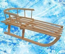 Holzschlitten mit Rückenlehne Schlitten aus Holz + Gratis Schneerutscher Zugseil