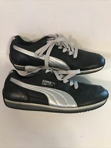 RARE Puma Commander Athletic Shoes Size 9.5 Black And Silver EXCELLENT CONDITION