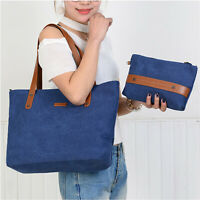 Women Canvas Tote Shoulder Bag Daily Casual Handbag Bag With Purse S-ZONE