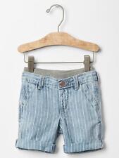 GAP Baby Toddler Boy Size 18-24 Months Blue Striped Pull-On Linen Denim Shorts