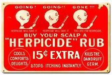 Vintage Barber Shop Hair Herpicide Rub Metal Sign Advertising Wall Decor BS005