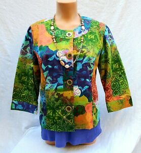 Coldwater Creek 10P Petite Jacket 3/4 Sleeve Women's Jewel Tones Button Front