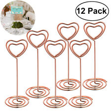 12X Heart Shape Photo Holder Table Number Holders Place Card Paper Menu Clips G