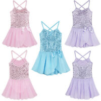 Girls Children Sequined Ballet Dance Leotard Dress Ballerina Fancy Fairy Costume