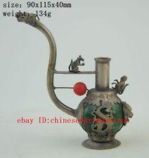 Old Wonderful Handwork Copper Carve Dragon Leopard Lucky Smoking Tool b01