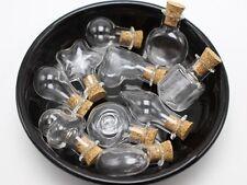 10 Assorted Mini Empty Glass Bottle Vials Cork Charm Pendants Wish Bottles