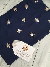 HECTOR HONEY BEE FOIL SCARF NAVY BLUE ROSE GOLD  SISTER MUM GIFT FRIEND PRESENT