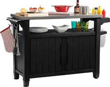More details for portable garden bbq serving cart xl party trolley cupboard resin wood effect new