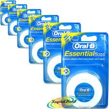 6x Oral B ESSENTIAL FLOSS essenziale Dental Floss Cerato 50m