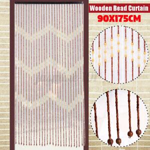 175cm Türvorhang Vorhang Fadenvorhang Streifenvorhang Fliegengitter Holz Perlen