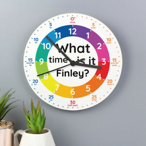 Personalised Childrens Time Teaching Easy Learn to Tell the Time Wall Clock Kids