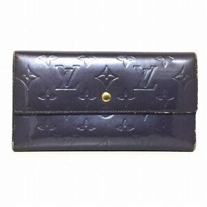 Auth LOUIS VUITTON Porte Tresor International M91353 Indigo Long Wallet