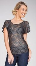 NEW UCW GLAMOROUS Black & Silver STRETCH LACE Short Sleeve Top Sz 18-20 RRP $69