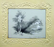 DRAWINGS  ISLE OF WIGHT A COTTAGE NEAR SHANKLIN PENCIL ENGLISH SCHOOL  C1840