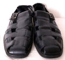 Stacy Adams 24566 Black Leather Closed Toe Cutout Fisherman Sandal Men's US 13M