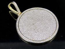 "Mens 10K Yellow Gold Genuine Diamond Iced Medallion Pendant Charm 1 3/4 Ct 1.75"""