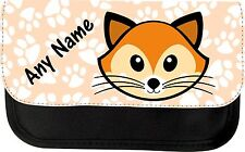 PERSONALISED CUTE FOX FACE PENCIL CASE MAKE UP BAG GIFT PRESENT XMAS BIRTHDAY