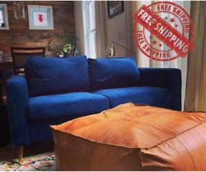 Square Ottoman Pouffe Moroccan Leather Light Tan Handmade Footstool