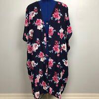 Living Doll Women's Size 1X Blue Floral Kimono