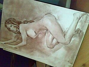 Original art,nude,erotic art,sexy beauty witch naked party start, fly in the sky