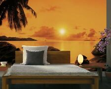 368x254cm Giant Wall mural Wallpaper SUNSET beach with palm orange home DECOR