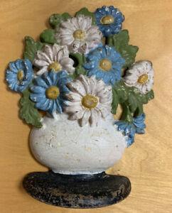 Vintage Hubley Cast Iron Daisy Flower Bowl Door Stopper