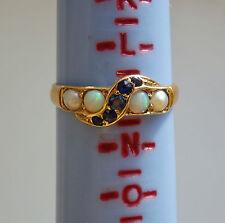 """Antico Periodo edoardiano 18 KT Oro Zaffiro Opale & Pearl Set Anello c1910; Uk Taglia """"M"""""""