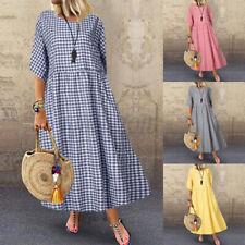Women Half Sleeve Plaid Check Long Shirt Dress Casual Loose Holiday Sundress NEW
