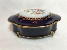 JLMenau Graf Von Henneberg Porzellan Floral Echt Kobalt Dresser/Trinket Box