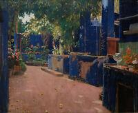 Blue Courtyard by Santiago Rusinol, Giclee Canvas Print, in various sizes