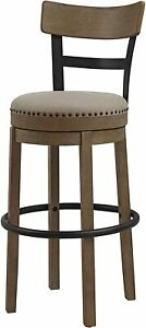 """Ball & Cast Swivel Pub Height Barstool 30"""" Seat Height Taupe Fabric Set of 1"""