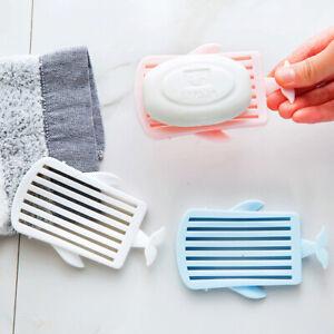 Whale Plastic Soap Dish Holder Water Drain Tray Soap Storage Box Case Bathroom