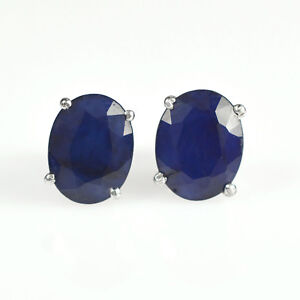9x7 MM Oval Cut Natural Blue Sapphire Gemstone 925 Sterling Silver Earring Stud