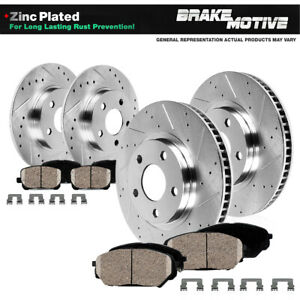 Front+Rear Drill Slot Brake Rotors and Ceramic Pads For Genesis G70 Kia Stinger