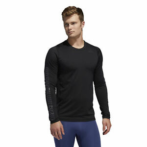 Adidas Men's Alphaskin Fitted Graphic Long Sleeve Tee, Black
