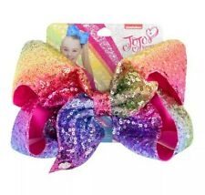 "NEW! Jojo Siwa Bow Large 8"" Sequin Bow 💛💜💚💗❤💙 RAINBOW ✨"