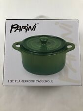 Brand New!! Parini 1 QT.  Flampeproof Casserole Dish With Lid~Green!