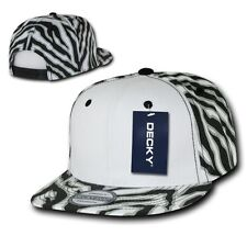 Black / White Zebra Animal Print Vintage Snapback Classic Flat Bill Hat Cap